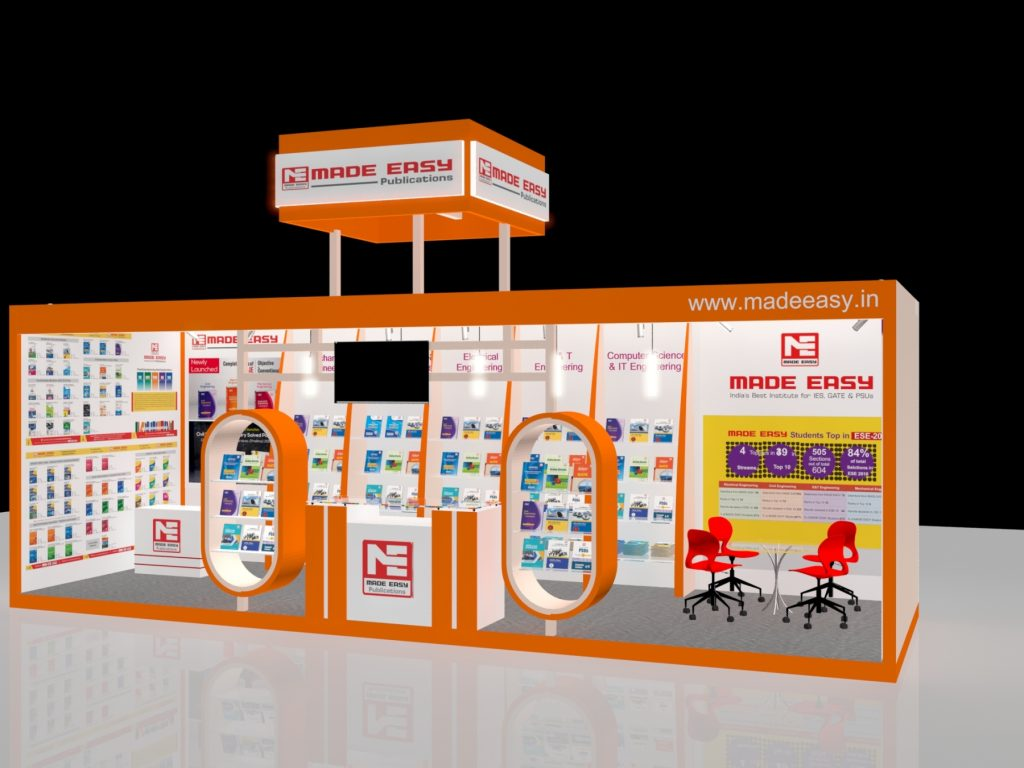 3d exhibition stall 3 side close left view- 3d stall designing services in delhi