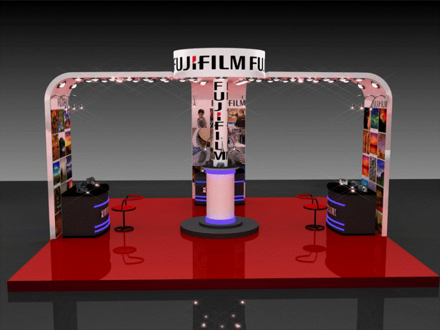 3d exhibition stall four side open- 3d stall designing services in delhi