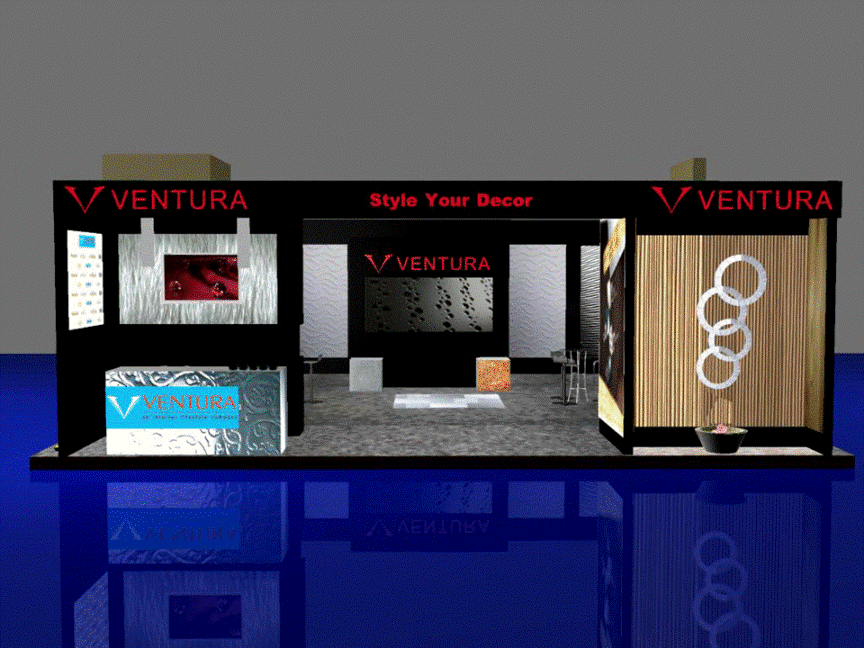 3d exhibition stall all side open front view- 3d stall designing services in delhi