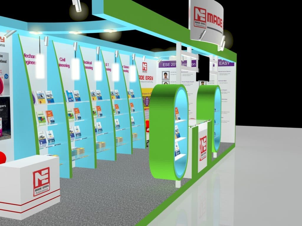 3d exhibition stall 3 side close side view- 3d stall designing services in delhi