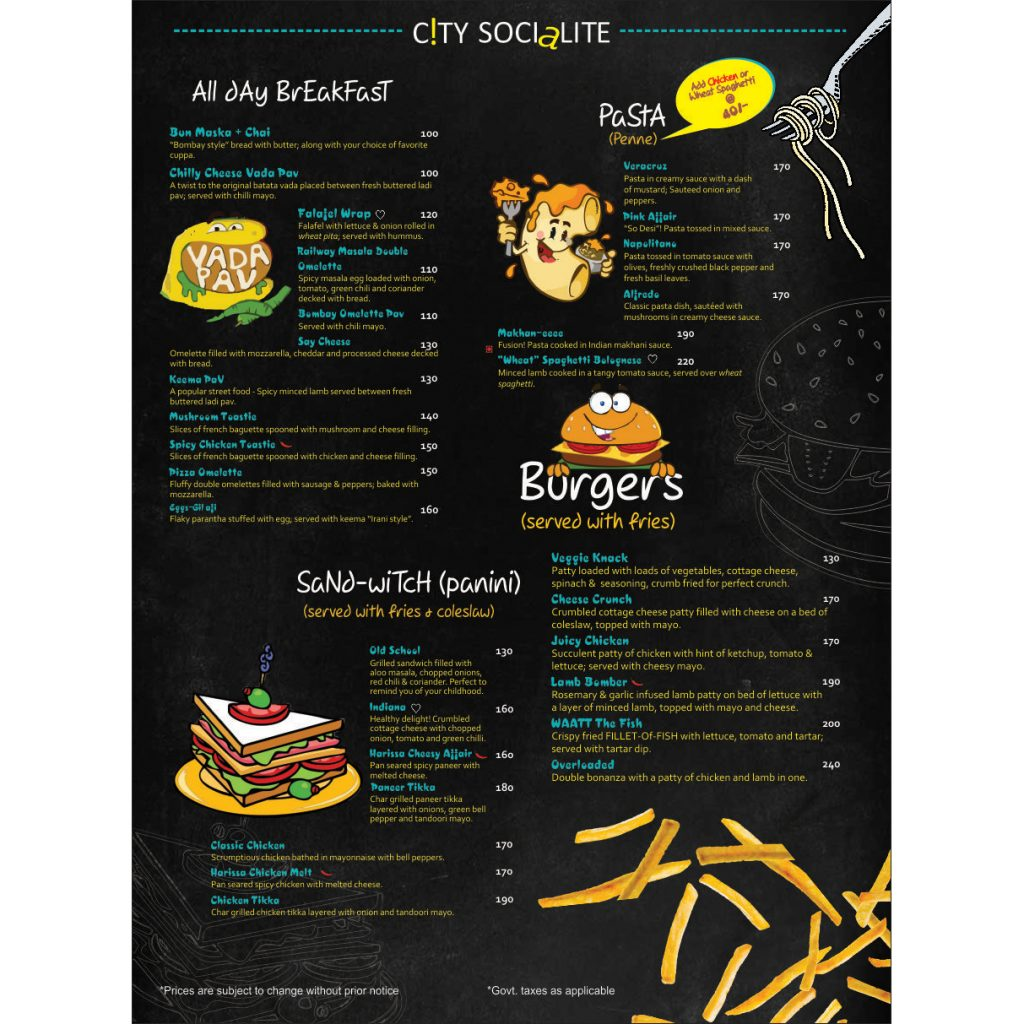 pasta / cafe menu card design- Designing services in delhi