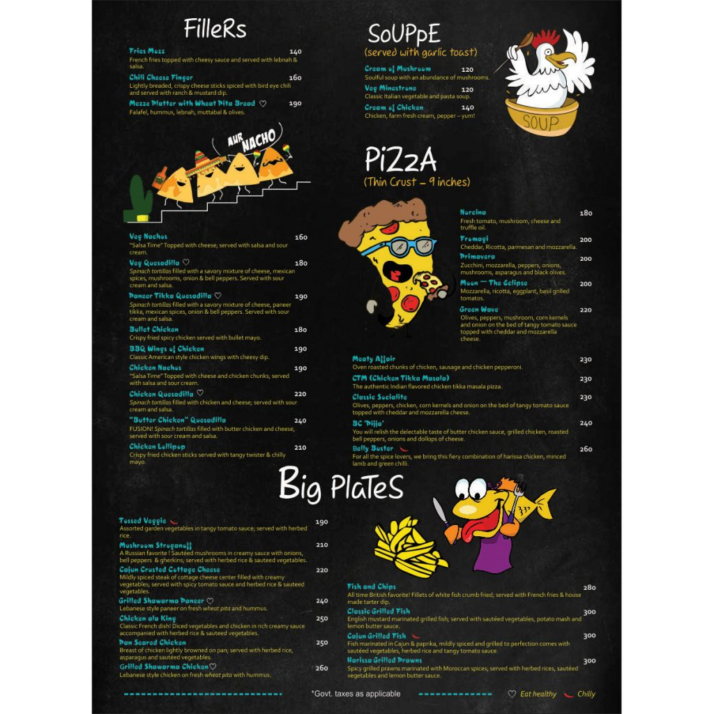 pizza menu card design- Designing services in delhi