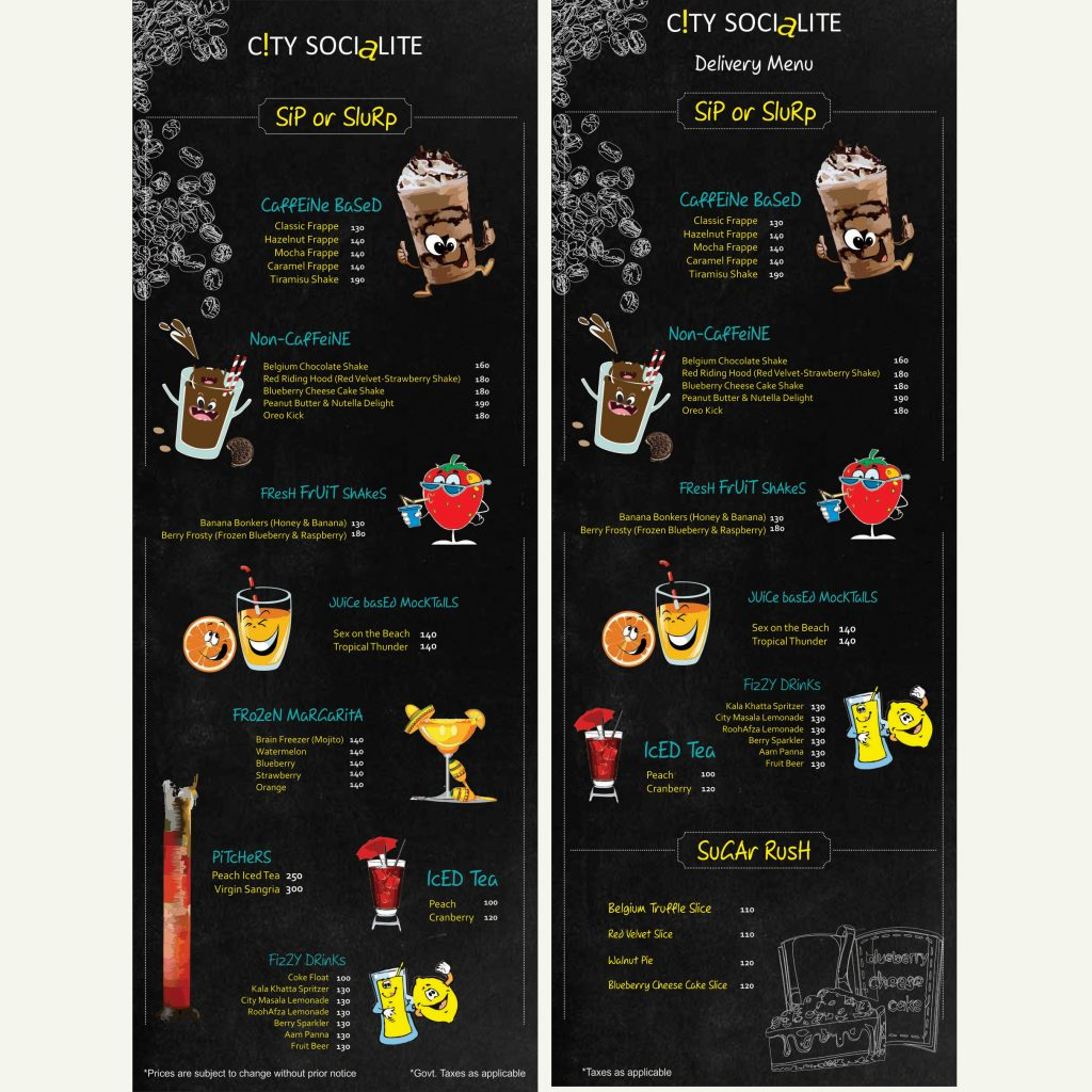 beverage menu design- designing services in delhi