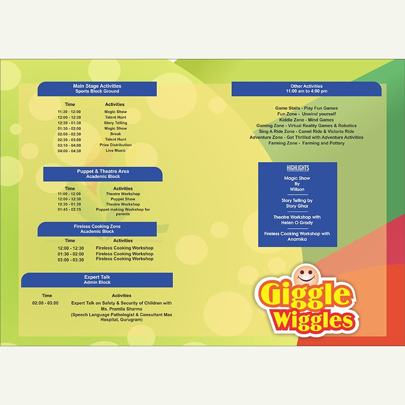 Event schedule card design - Designing service provider