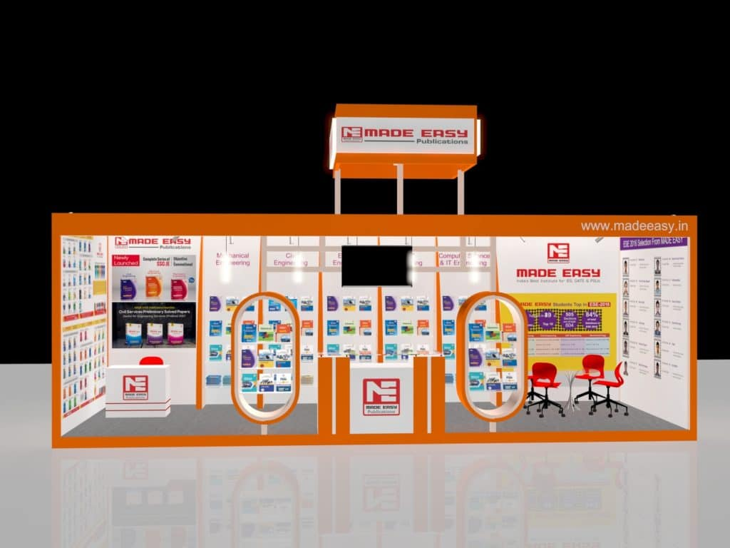 3d exhibition stall 3 side close front view- 3d stall designing services in delhi