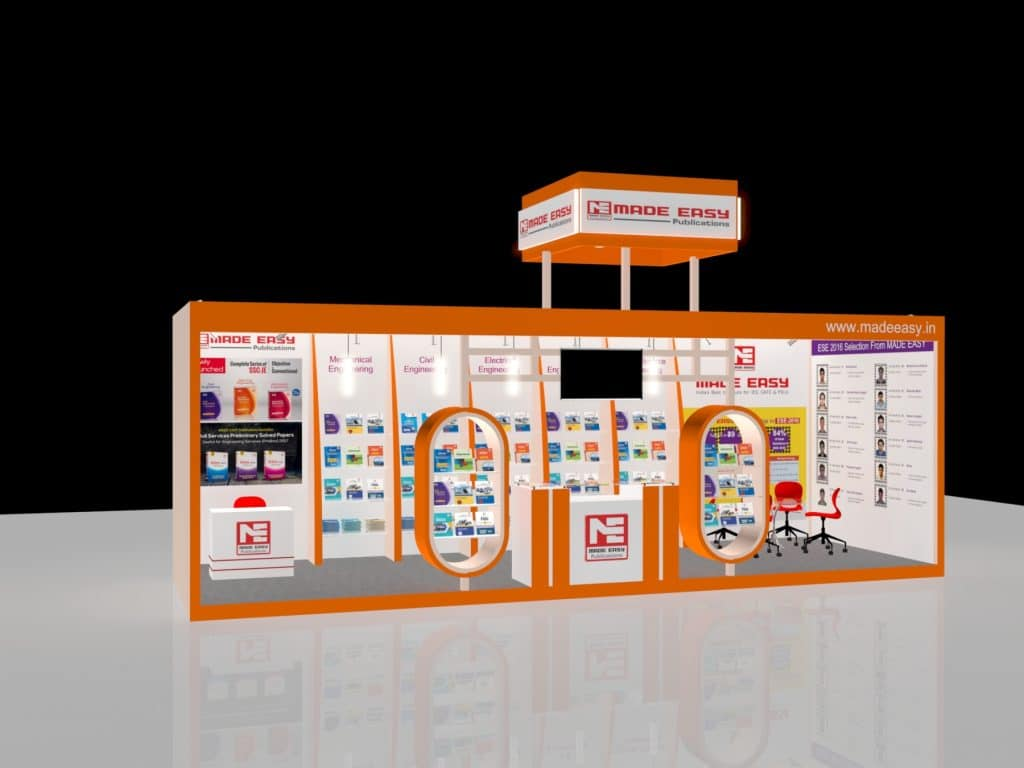 3d exhibition stall 3 side close right view- 3d stall designing services in delhi